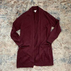 bp Sweaters - BP Burgundy Open Front Cardigan